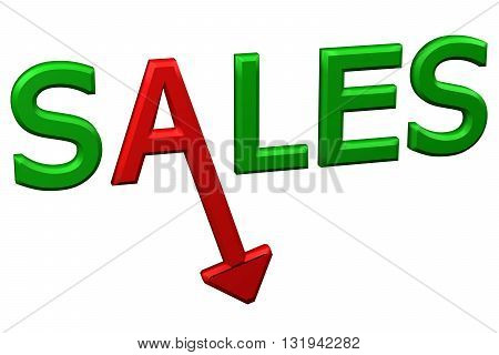 Concept: word sales with arrow isolated on white background. 3D rendering.