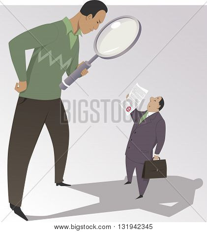 Man with a magnifying glass reading the fine print on a document, vector cartoon