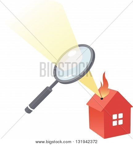 House under scrutiny. A magnifying glass burns a hole in a cartoon house.
