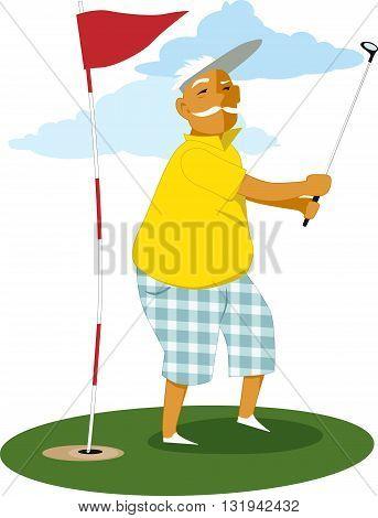 Senior man playing golf, vector illustration, no transparencies