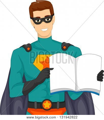 Illustration of a Man Dressed as a Superhero Reading a Story