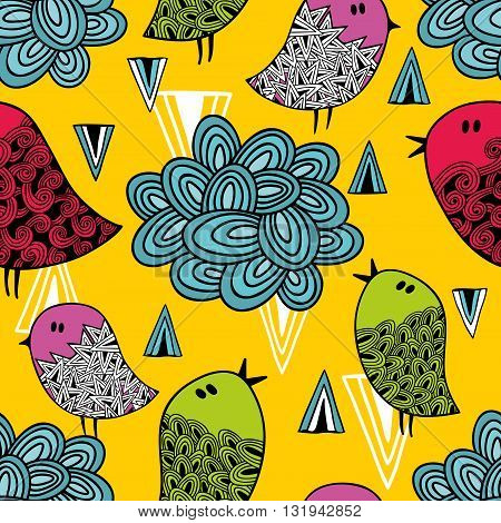 Colorful seamless pattern with cute birds and clouds. Vector repeated background.