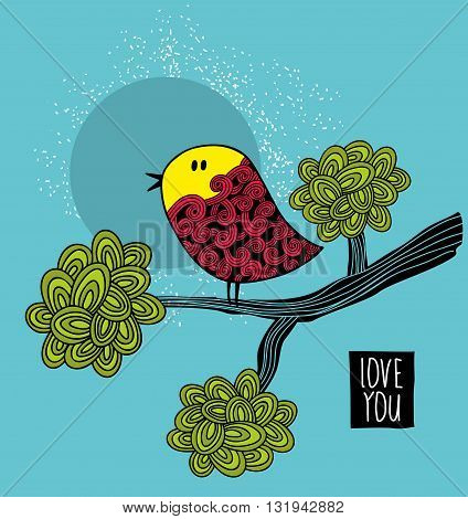 Colorful bird on the tree card cover. Vector illustration.