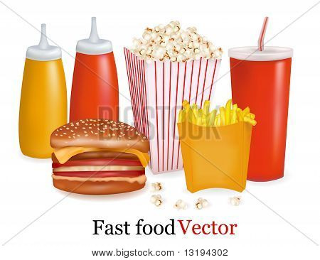 Big set of fast food products.