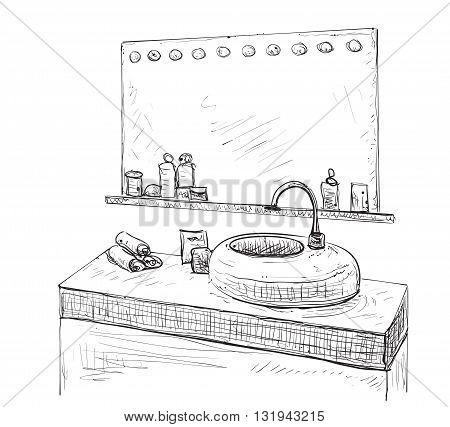 Bathroom interior sketch. Hand drawn washbasin, mirror and tap.