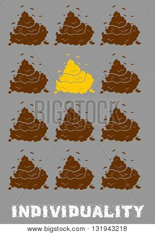 Ndividuality Poster. Gold Turd Among Brown Shit. Social Poster. Dejecta  Feces And Poop