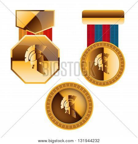 Gold Medal For Games And Golden Coin With Helmet Sparta Achievement Icon Vector Illustration Eps10