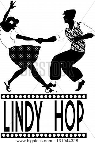 Young couple dressed in late 1940s style clothes dancing lindy hop, black vector silhouette, no white