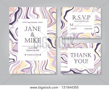 Vector Wedding invitation card suite with ink marble style texture. Hand drawn marbling effect. Background illustration in Pastel colors. Save the Date rsvp thank you card. Abstract wedding set.