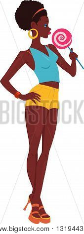 Young African-American woman standing with a big lollipop