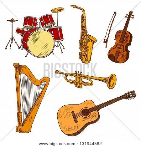 String, brass and percussion musical instruments symbols with sketches of red concert drum set and harp, shining saxophone and trumpet, acoustic guitar and violin. Music entertainment and art theme design