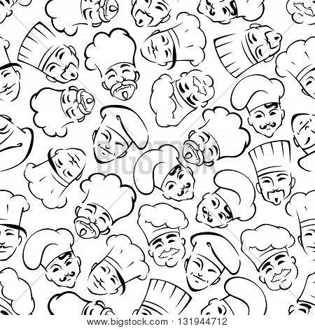 Smiling chefs in uniform toques seamless pattern. For restaurant interior or scrapbook page backdrop design usage with black sketches of moustached cooks and bakers over white background