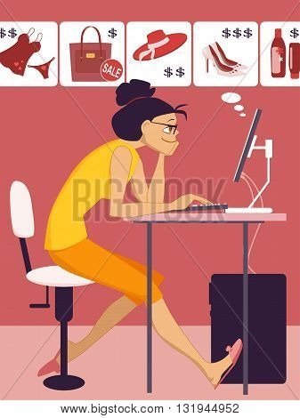 On-line shopping. Young woman sitting at the computer, browsing articles at the on-line store, vector illustration