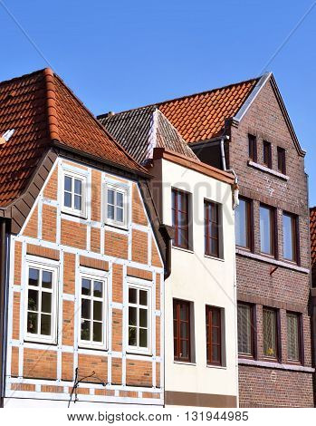 Old town facades. Historic city of Buxtehude, Hamburg, Germany. Typical houses in North Germany. Half-timbered houses.