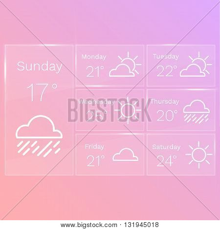 Mobile transparent interface of weather widget with line icons