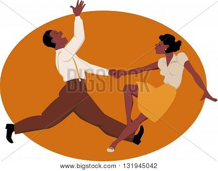 African-American couple dancing swing or rock and roll