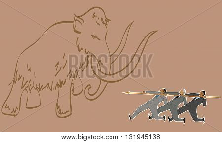 Teamwork. Group of businessmen armed with one big lance hunting a mammoth, vector illustration