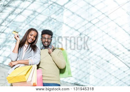 Smiling couple in a store