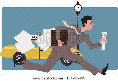 Businessman running down a city street with a newspaper and losing papers from his folder, vector illustration