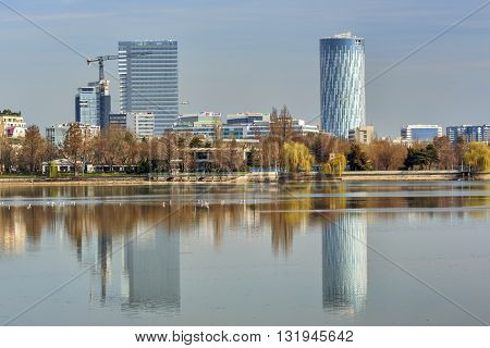 Bucharest Romania - March 07 2016: Bucharest Sky Tower Business Center. Bucharest urban landscape.