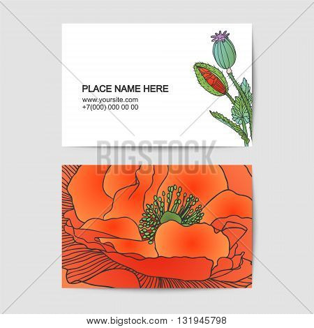 visitin card vector template with poppy flowers