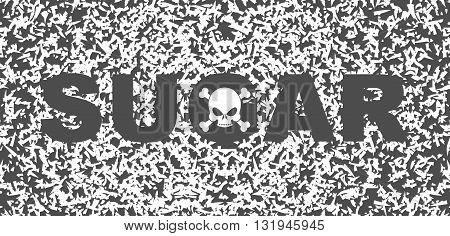 Sugar White Death. Skull And Text On Background Of Sugar Grains