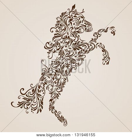 Floral pattern of vines in the shape of a horse on a beige background
