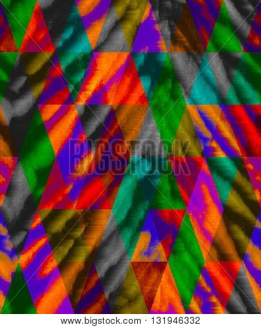 seamless artiostic abstract tie dye pattern in dark colors with arlequin geometric ethnic layed, and zebra or tiger stripes look.