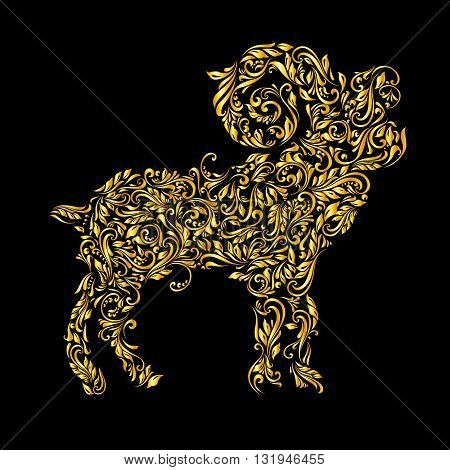 Floral gold pattern of vines in the shape of a ibex on a black background
