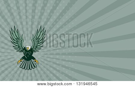 Business card showing illustration of a bald eagle with spread wings swooping viewed from front set on isolated white background done in retro style.