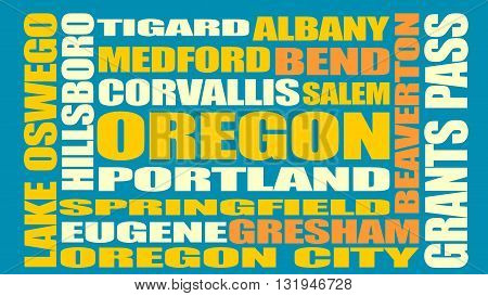 Image relative to USA travel. Oregon cities and places names cloud.