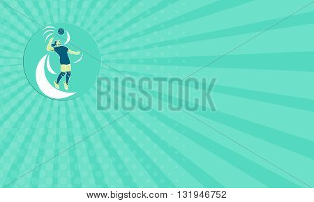 Business card showing illustration of a volleyball player spiker jumping spiking hitting ball high viewed from the side set inside circle on isolated background done in retro style.