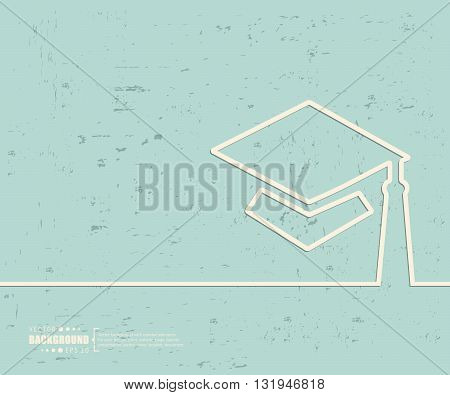 Creative vector academic cap. Art illustration template background. For presentation, layout, brochure, logo, page, print, banner, poster, cover, booklet, business infographic, wallpaper, sign, flyer.