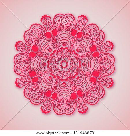 Paper Mandala. Pink Background.