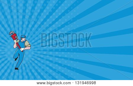 Business card showing illustration of a plumber wearing hat running holding giant monkey wrench looking to the side viewed from front set on isolated white background done in cartoon style.
