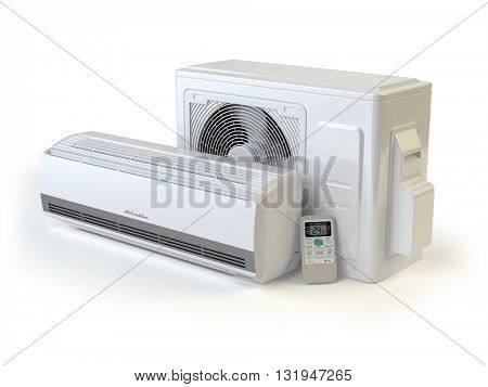 Air conditioner system isolated on white. 3d illustration