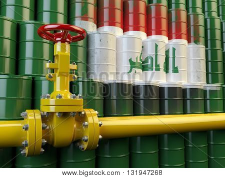 Oil pipe line valve in front of the flag of Iraq on the oil barrels. Iraqi gas and oil fuel energy concept. 3d illustration