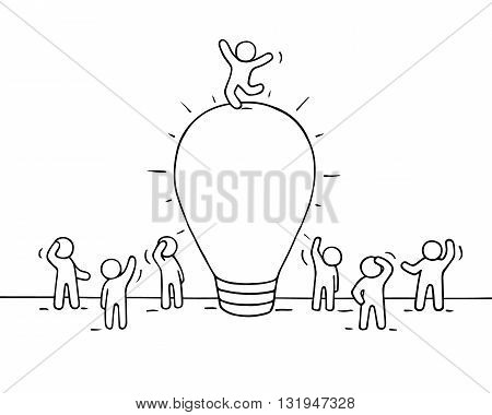 Sketch of lamp idea with crowd of little people. Doodle cute miniature of lamp idea with leader on the top. Hand drawn cartoon vector illustration for business design.