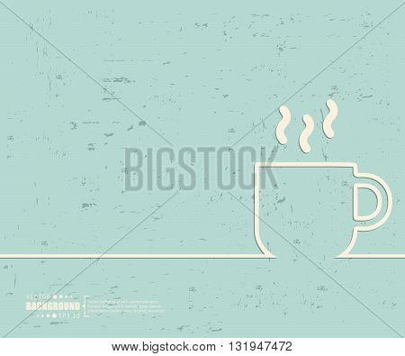 Creative vector coffee cup. Art illustration template background. For presentation, layout, brochure, logo, page, print, banner, poster, cover, booklet, business infographic, wallpaper, sign, flyer.