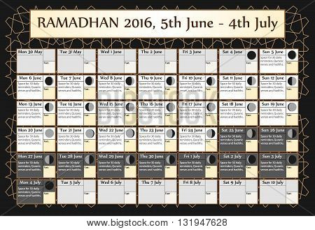 Ramadan calendar 2016. Includes: fasting calendar moon cycle-phases Ramadan quotes -hadith and Quran-. 30 days of Ramadan on black background with Islamic pattern. 1of3. 5 June. Vector illustration