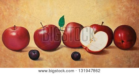 five and half apples and two plums original oil painting on canvas, amazing still life painting,