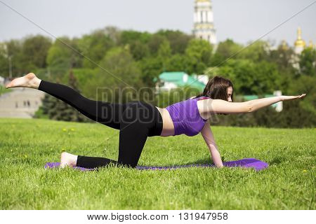 Young woman doing yoga . shot of a young fit woman doing yoga exercises. Full length of a young woman stretching body.