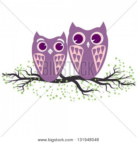 Two violet  owls sitting on the tree branch. Vector illustration of cartoon owls in pastel colors. Family and romance concept with owls couple