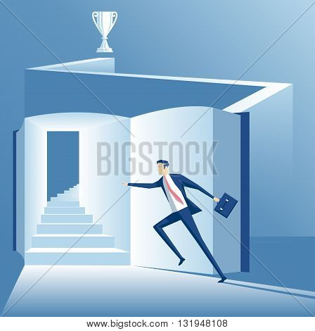 Business concept the way to success is through knowledge worker runs up the stairs to success across the book