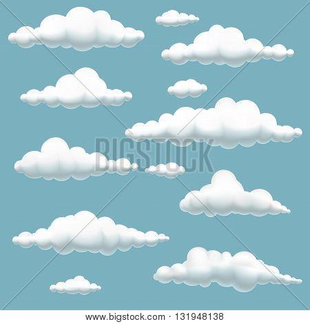 Big set of volumetric cartoon clouds on blue backgroundvector illustration of clouds in blue sky