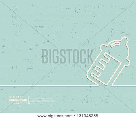 Creative vector nursing bottle. Art illustration template background. For presentation, layout, brochure, logo, page, print, banner, poster, booklet, business infographic, wallpaper, sign, flyer.