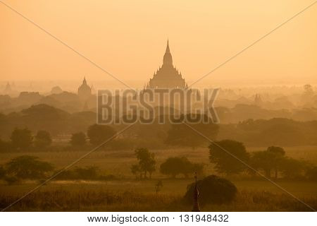Old pagoda field sunset time at Bagan Myanmar