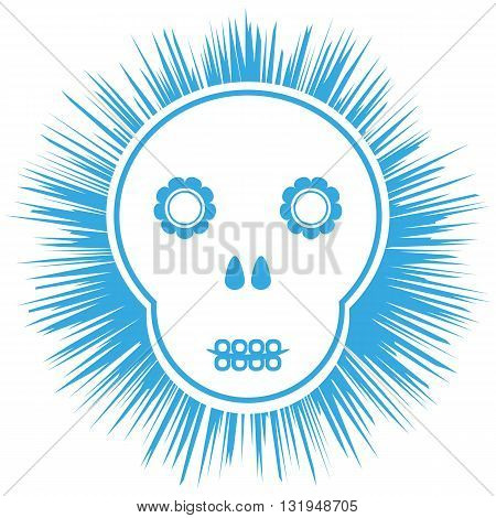 Comic schematic skull. Flowers abstract black background. Isolated.