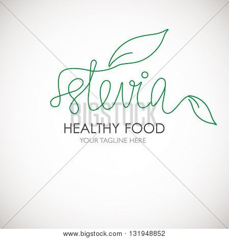 Stevia lineart word logo vector illustration. Logotype with green stevia leaves