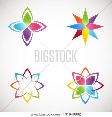Lotus Logotype icons set. Bright colors flower logos.Lotus flower logo for Beauty salon, health clinic, yoga studio, massage studio.